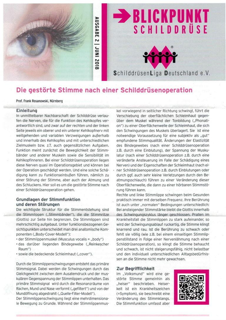 Praxis Jörg Küpper Schilddrüse Schilddrüsen-Liga Zeitschift Blickpunkt