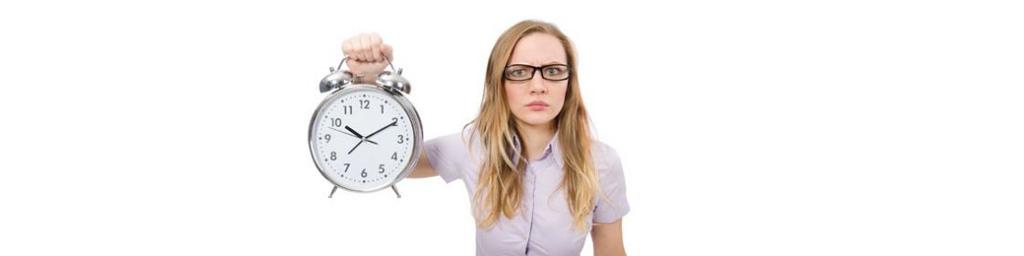 Sprechzeiten Frau mit Uhr