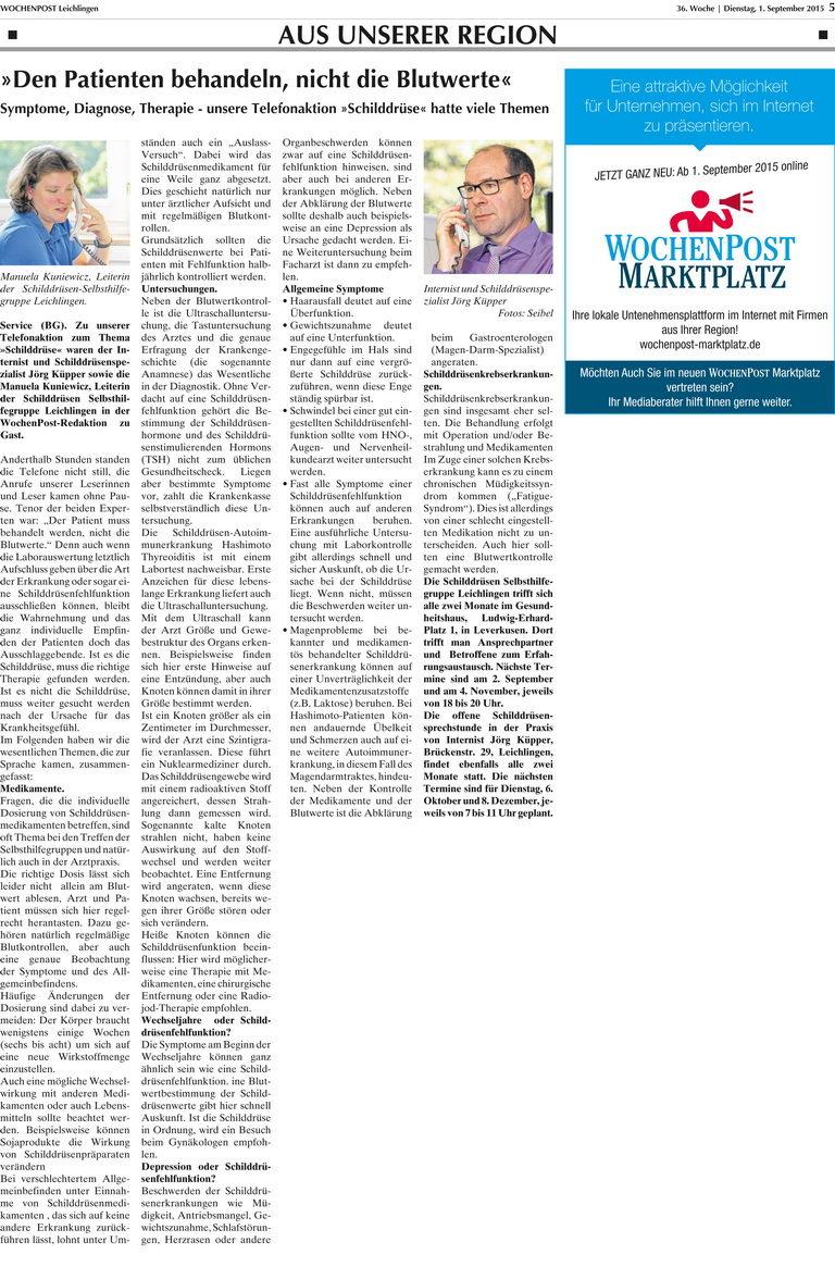 Jörg Küpper führ eine Telefonaktion zum Thema Schilddrüse bei der Wochenpost durch